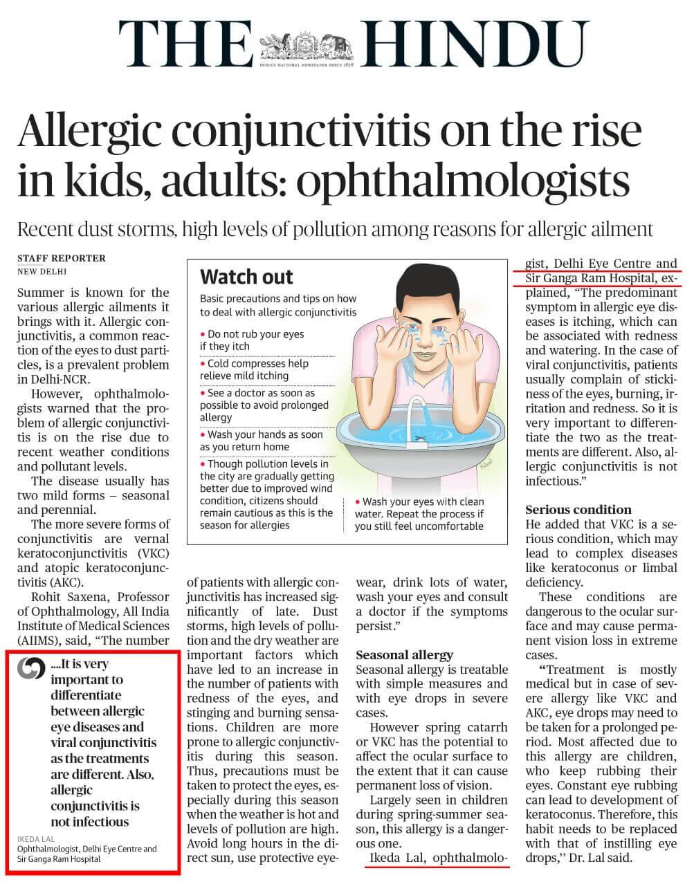 Allergic conjunctivitis tips by Delhi eye Centre